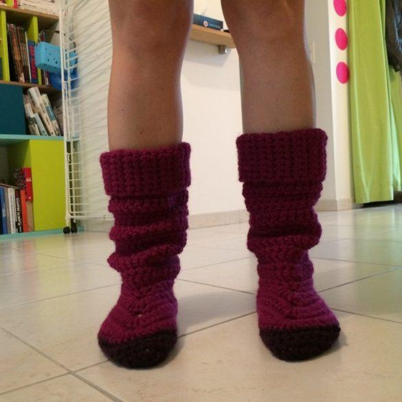 Chausson en crochet : essai 1